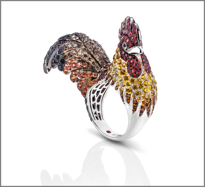 Gallo, white gold ring with black, orange and yellow sapphires and diamonds