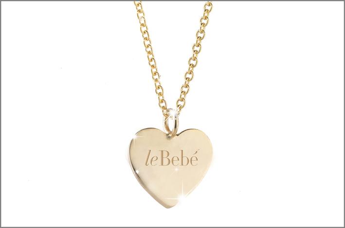 Collana in oro giallo con pepita bimbo/bimba incisa o cuore con logo leBebé inciso: 112 euro