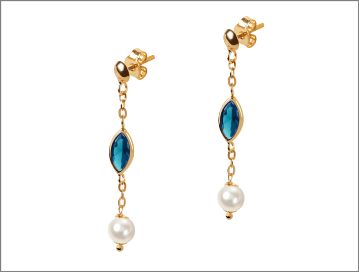 Orecchini in oro 9 carati con pietra topazio e perle