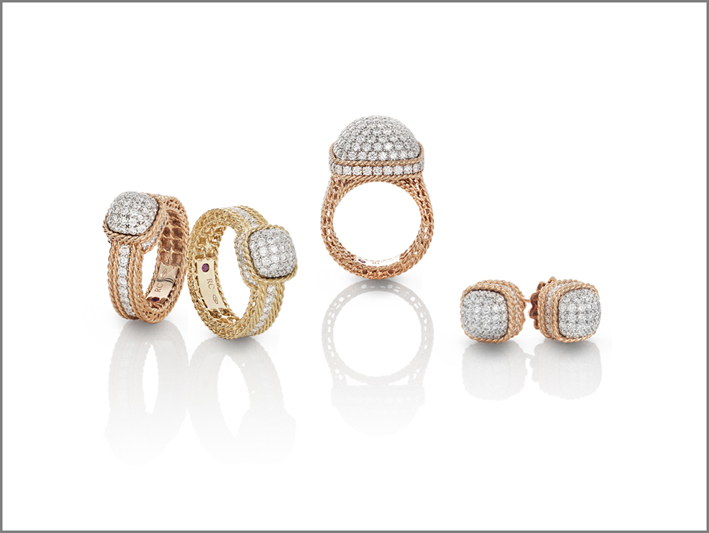 Rings and earrings in yellow and rose gold with diamonds