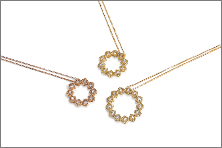 Pendants in rose and yellow gold with diamonds