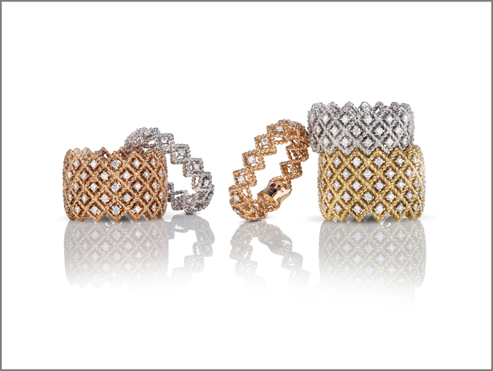Rings in rose, white and yellow gold with diamonds