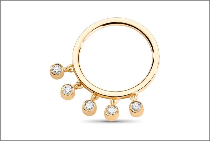 Anello con frange e diamanti