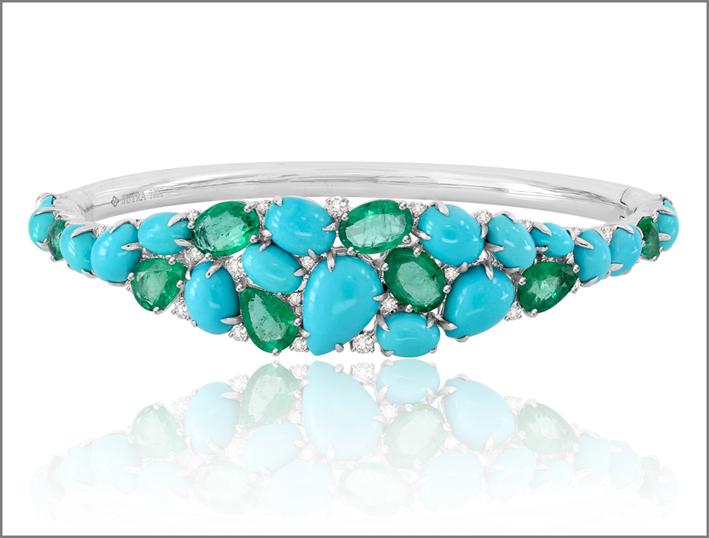 Sutra, bracciale in oro bianco con turchesi, diamanti e smeraldi