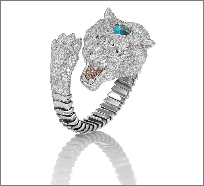 White gold bangle with diamonds, pink sapphires and Paraiba tourmaline
