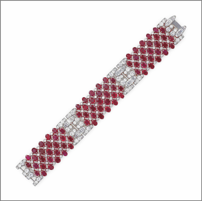 Bracciale art déco con rubini e diamanti di Van Cleef & Arpels