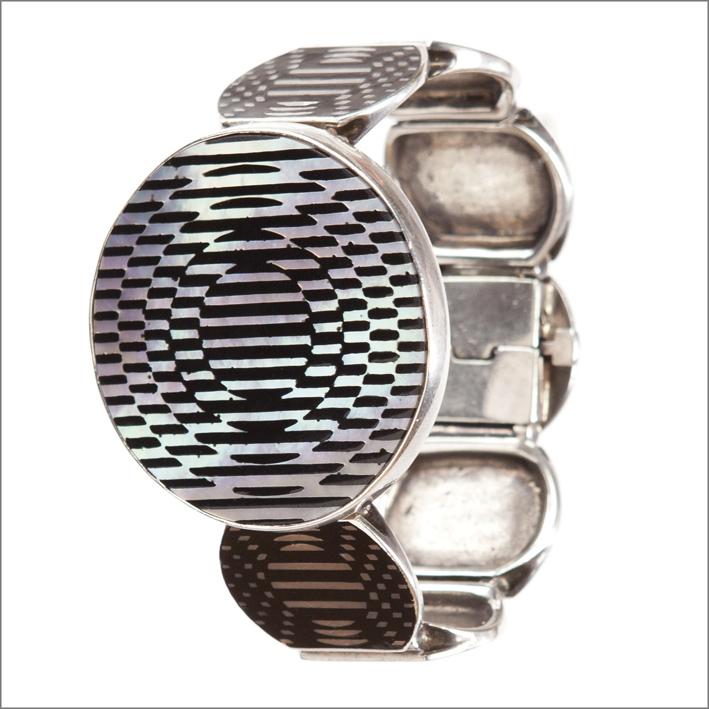 Victor Vasarely, bracelet Jolie, 1985, argento e smalto