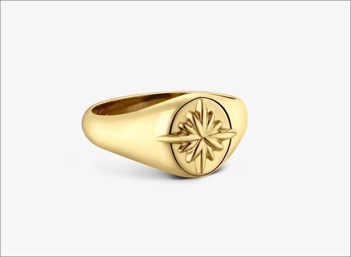 Anello chevalier per donna in oro