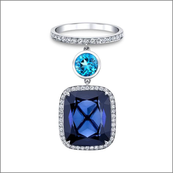 Swarovski, anello con ciondolo e pietra sintetica