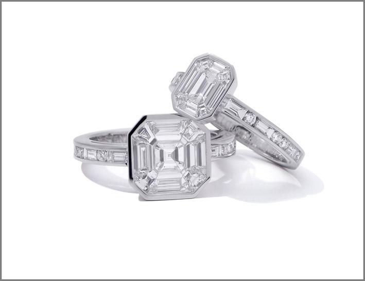 Anelli in oro bianco e diamanti della collezione Ice Zeit