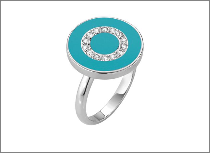Morellato, anello in argento con pasta di turchese e zirconi