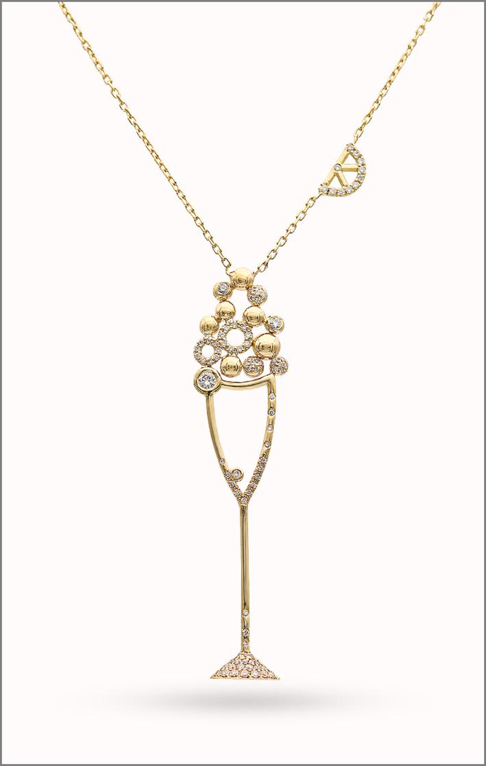 Malakine, pendente della collezione Cocktail Party, oro e diamanti