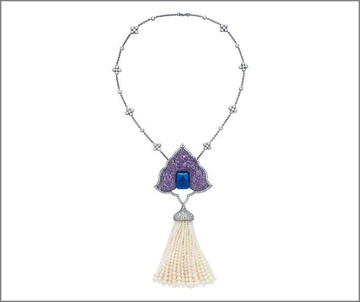Collana con pendente Moghul, datata 1999, in argento e oro 18 carati, ametiste, diamanti e perle di Jar