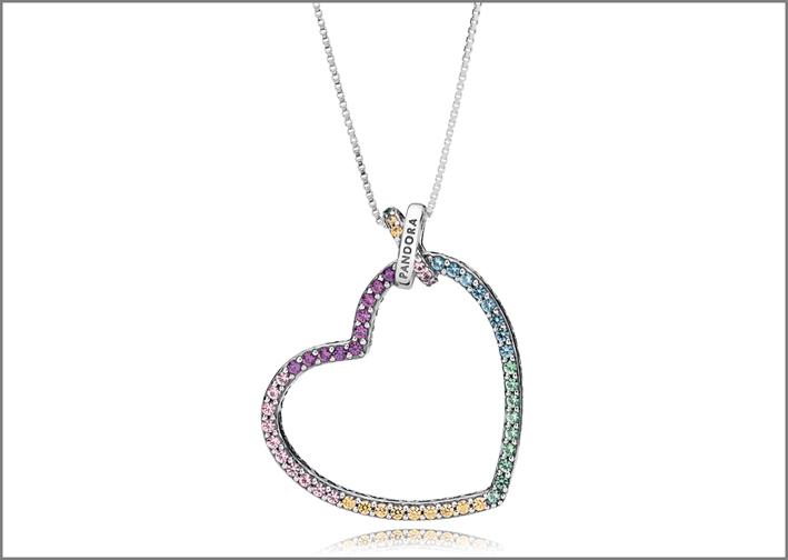 Pendente della linea Rainbow Heart