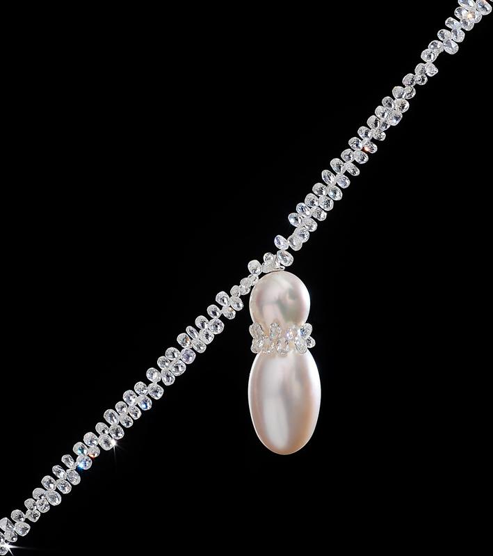 Pendente con perla e diamanti di Gorgoglione