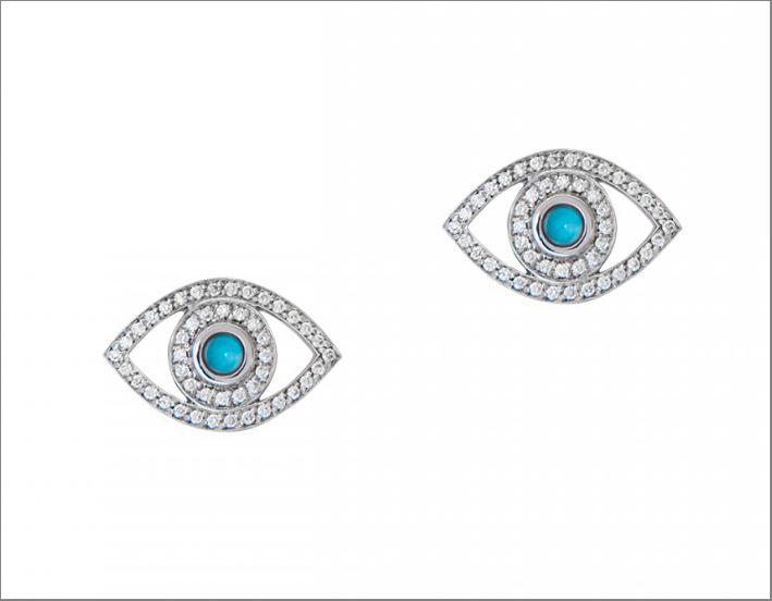 Orecchini in oro bianco, diamanti, turchesi