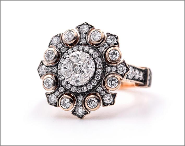 Anello in oro rosa e diamanti della collezione Imago