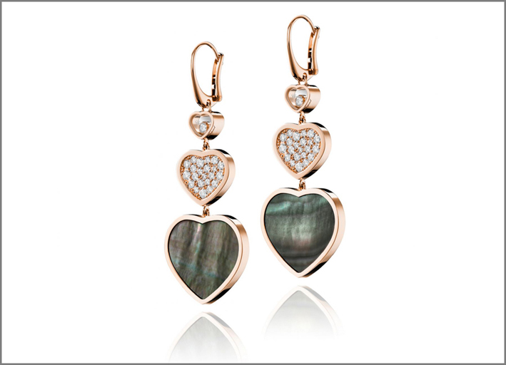 Orecchini Happy Hearts con madreperla thaitiana, oro rosa e diamanti
