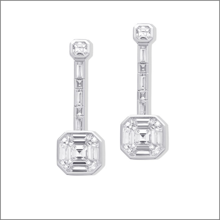 Orecchini in oro bianco e diamanti della collezione Ice Zeit