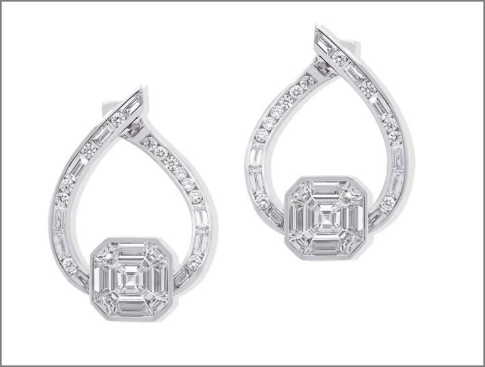 Orecchini in oro bianco e diamanti di Stenzhorn