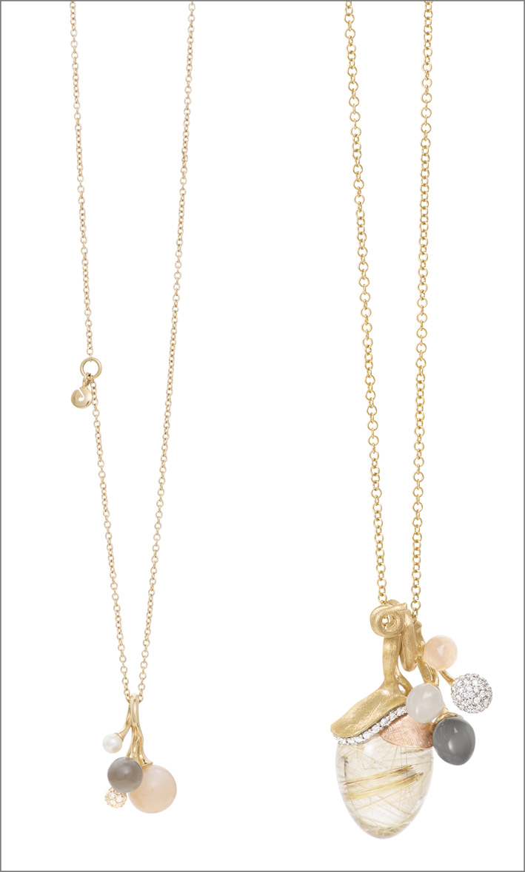 Pendenti in oro con diamanti e corallo, acquamarina, pietra luna