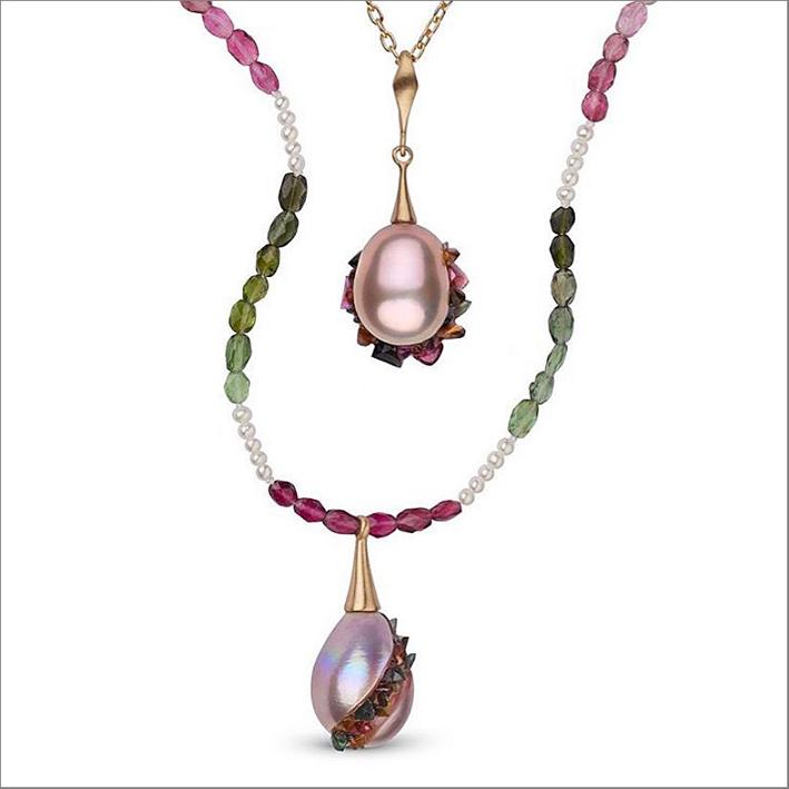 Perle abbinate a tormaline rosa e verdi