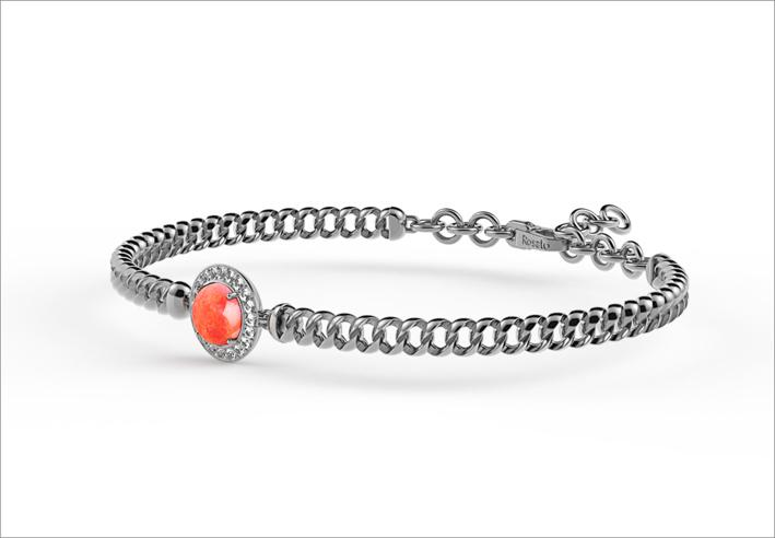 Bracciale in argento con corniola rossa cabochon e zirconi bianchi pianeta marte