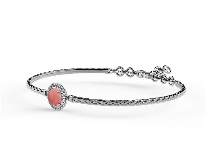 Bracciale in argento con quarzo rosa cabochon e zirconi bianchi pianeta venere