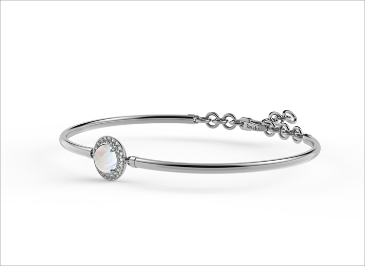 Bracciale in argento con madre perla e zirconi bianchi luna