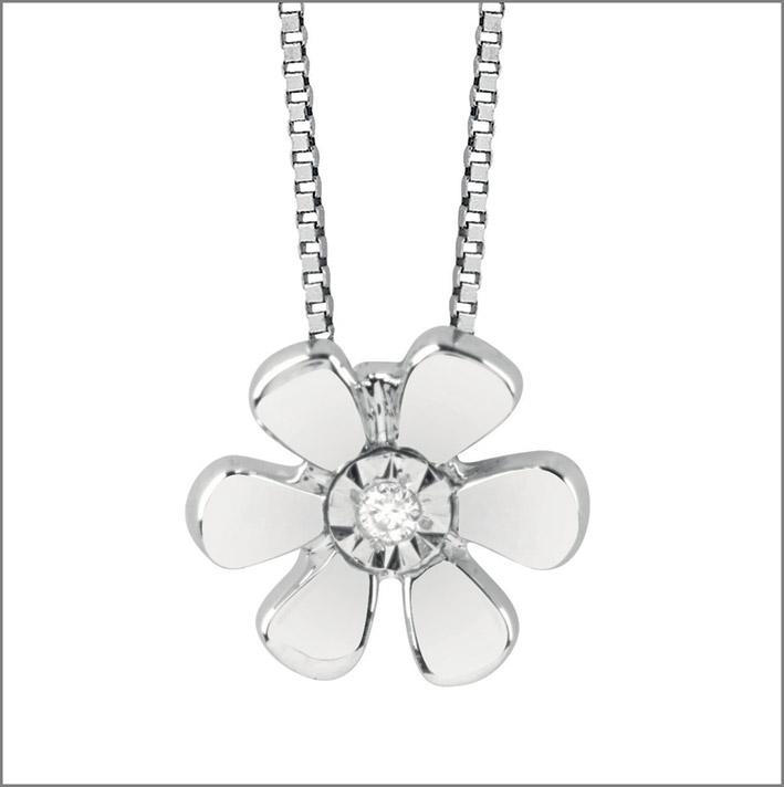Pendente a fiore in oro bianco e diamante
