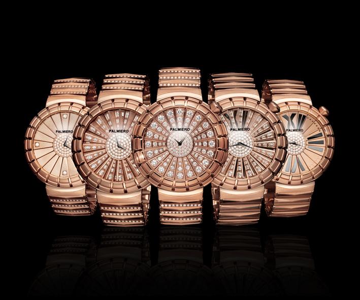 Alter Man: orologio gioiello in diamanti bianchi su oro rosa. Brevettato con tre quadranti e due bracciali che ruotano in unico orologio, movimento svizzero