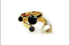 Collezione Unity, anello con onice nero e zaffiro