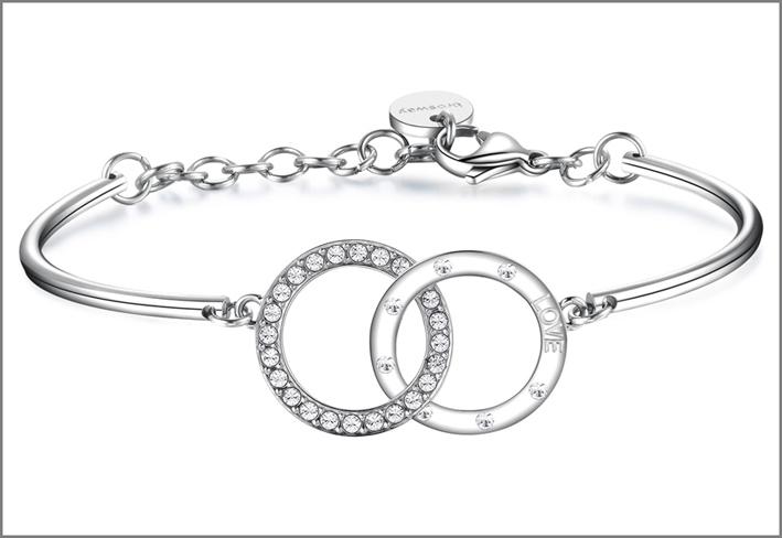 Brosway, bracciale in acciaio con due cerchi intrecciati in acciaio con incisione e cristalli Swarovski