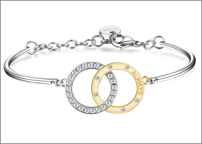 Collezione Romeo & Juliet, bracciale in acciaio con due cerchi intrecciati in acciaio e pvd oro con incisione e cristalli Swarovski