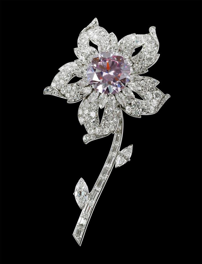 Spilla in platino del 1953, Ordine speciale. Platino, diamanti, diamante rosa . Prestato da Sua Maesta Elizabeth II. Collection Trust