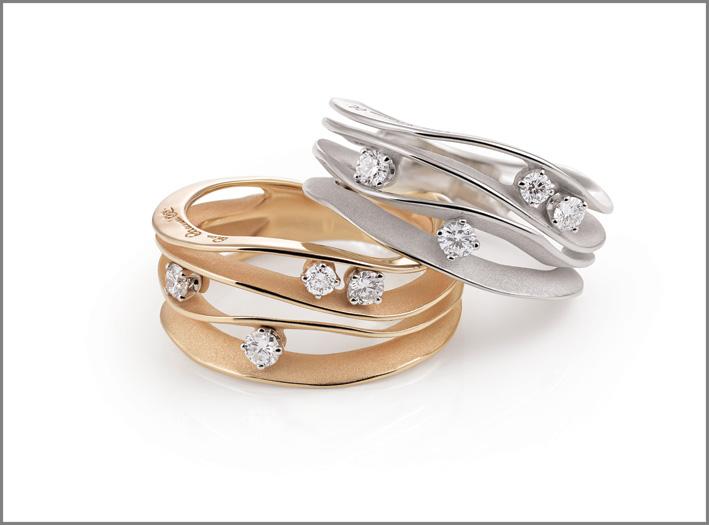 Anelli della colle collezione Dune, oro rosa e bianco, con quattro diamanti