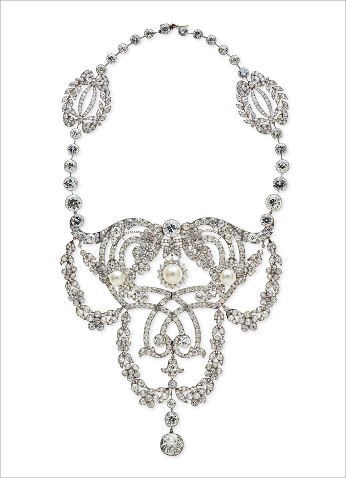 Collana in platino e diamanti Devant de corsage, Cartier, 1902