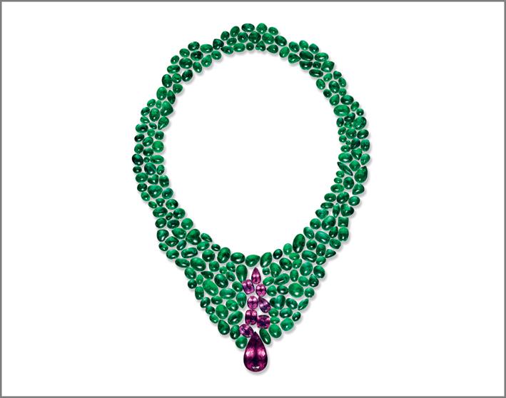 Set per collier con smeraldi colombiani e tormalina rossa