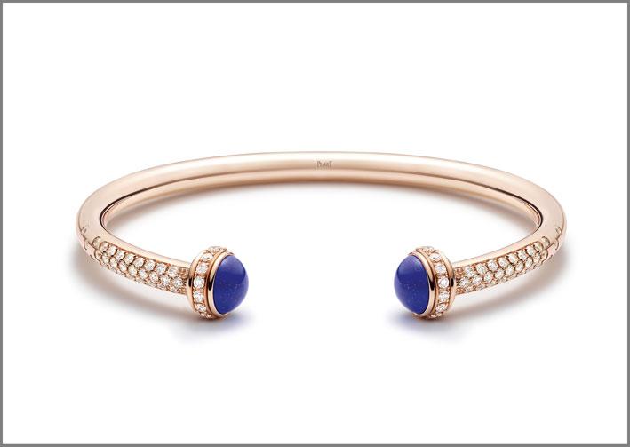 Bracciale della collezione Possession con lapislazzulo, oro rosa e diamanti