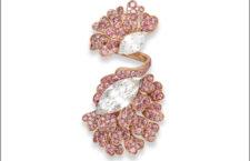 Anello doppio con petali di diamanti rosa acceso su oro rosa e diamanti taglio marquise