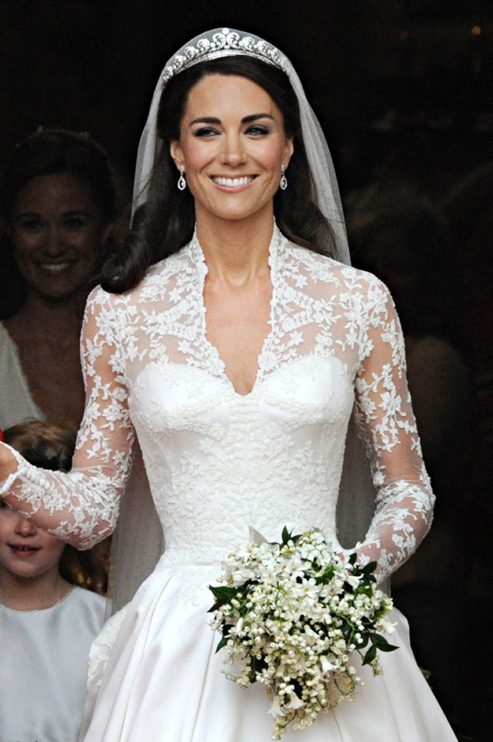 Kate Middleton con la Halo TIara il giorno del suo matrimonio. Photo: Getty Image