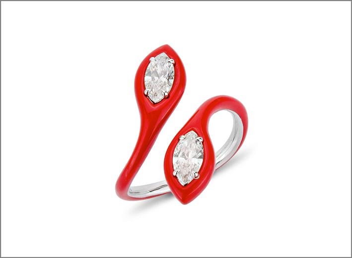 Anello in oro bianco, smalto e diamanti