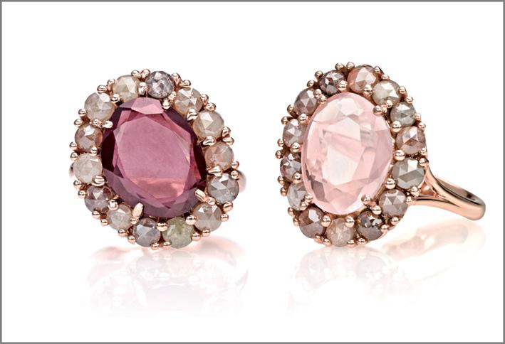 Collezione Millebolle, anello in oro rosa, diamanti grigi, rodolite. Anello oro rosa, diamanti grigi, quarzo rosa