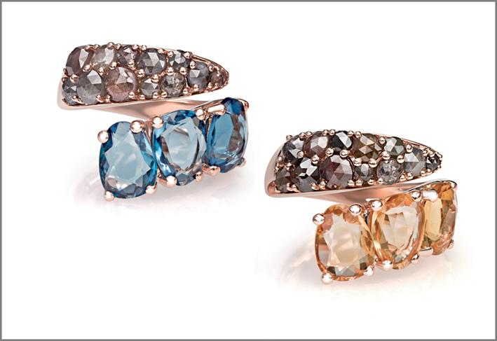 Anello oro rosa, diamanti grigi, quarzo london blu. Anello oro rosa, diamanti grigi, quarzo citrino