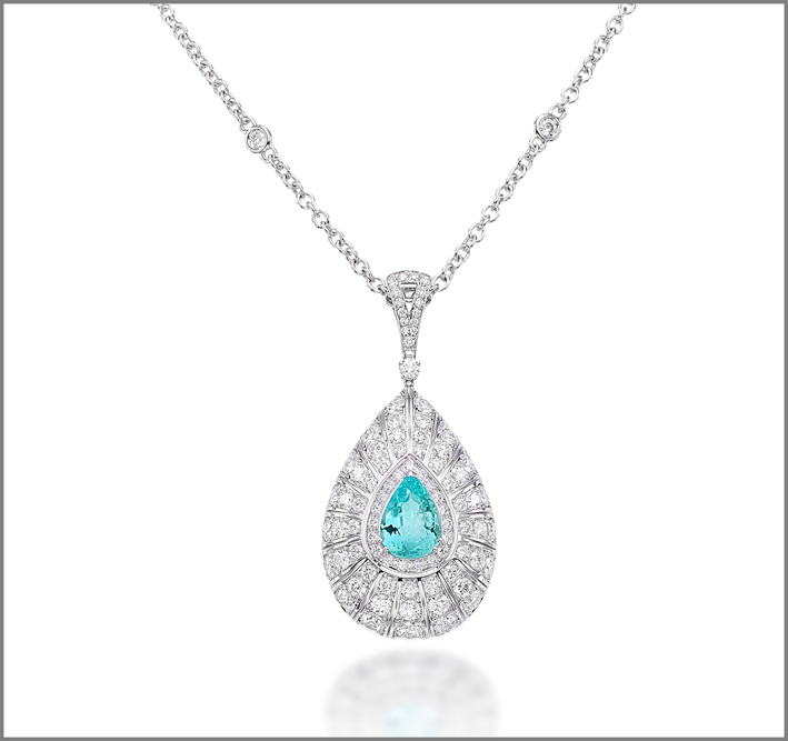 Pear-shape paraiba (3.34 ct) and diamond (5.64 ct) pendant set in white gold
