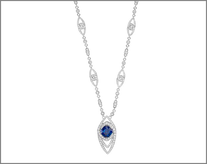 Cushion tanzanite (17.84 ct) and diamond (17.79 ct) pendant set in white gold