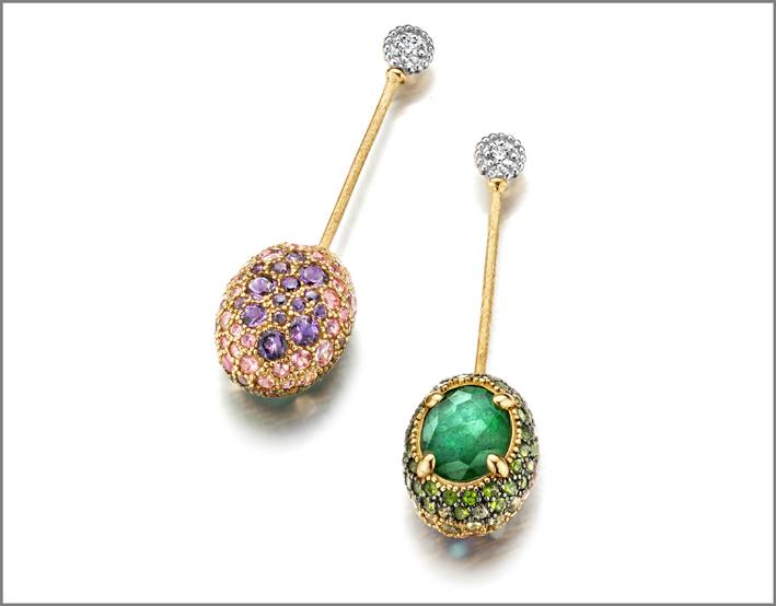 Nanis, orecchini in oro, diamanti e pietre naturali