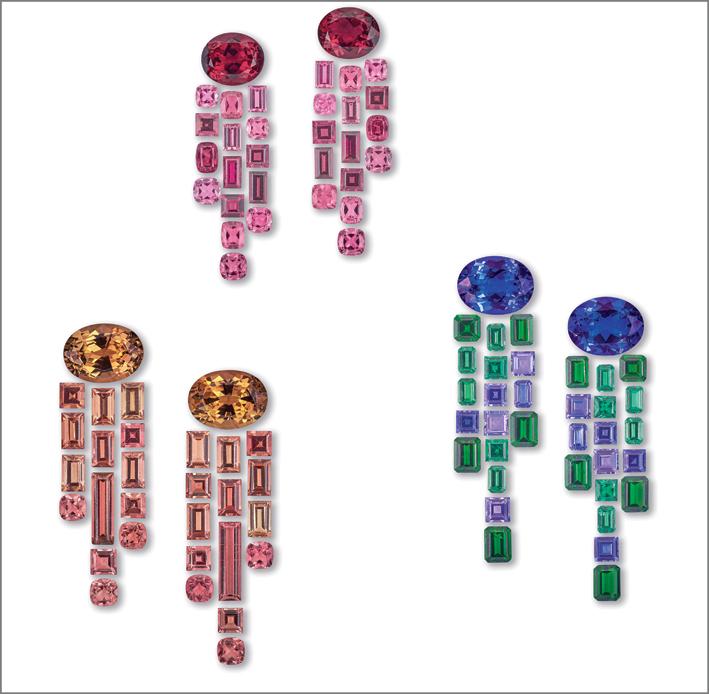 Set per orecchini con tanzaniti, tsavoriti, tormalina e spinello