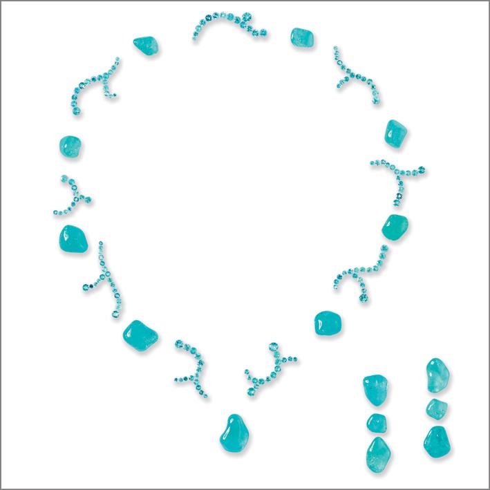 Set per collier e orecchini di tormalina paraiba