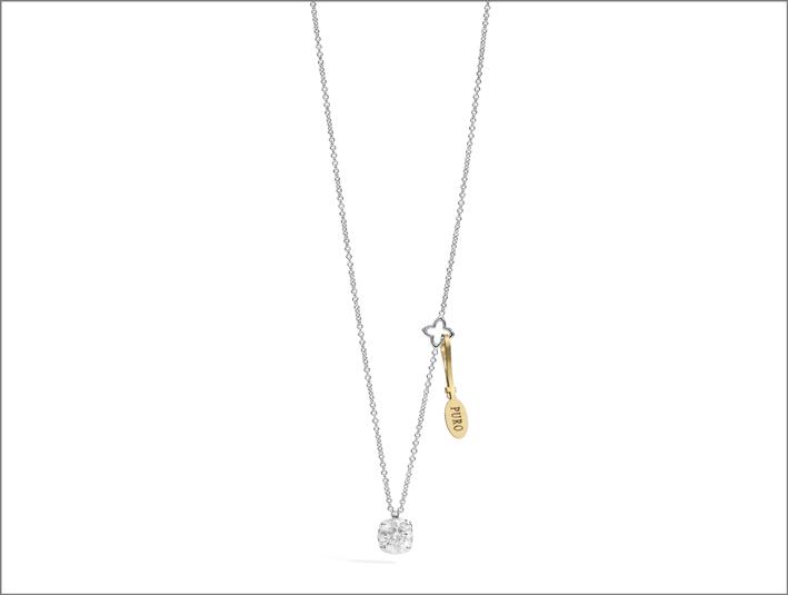 Pendente della linea Puro, oro bianco e diamante con sigillo in oro giallo